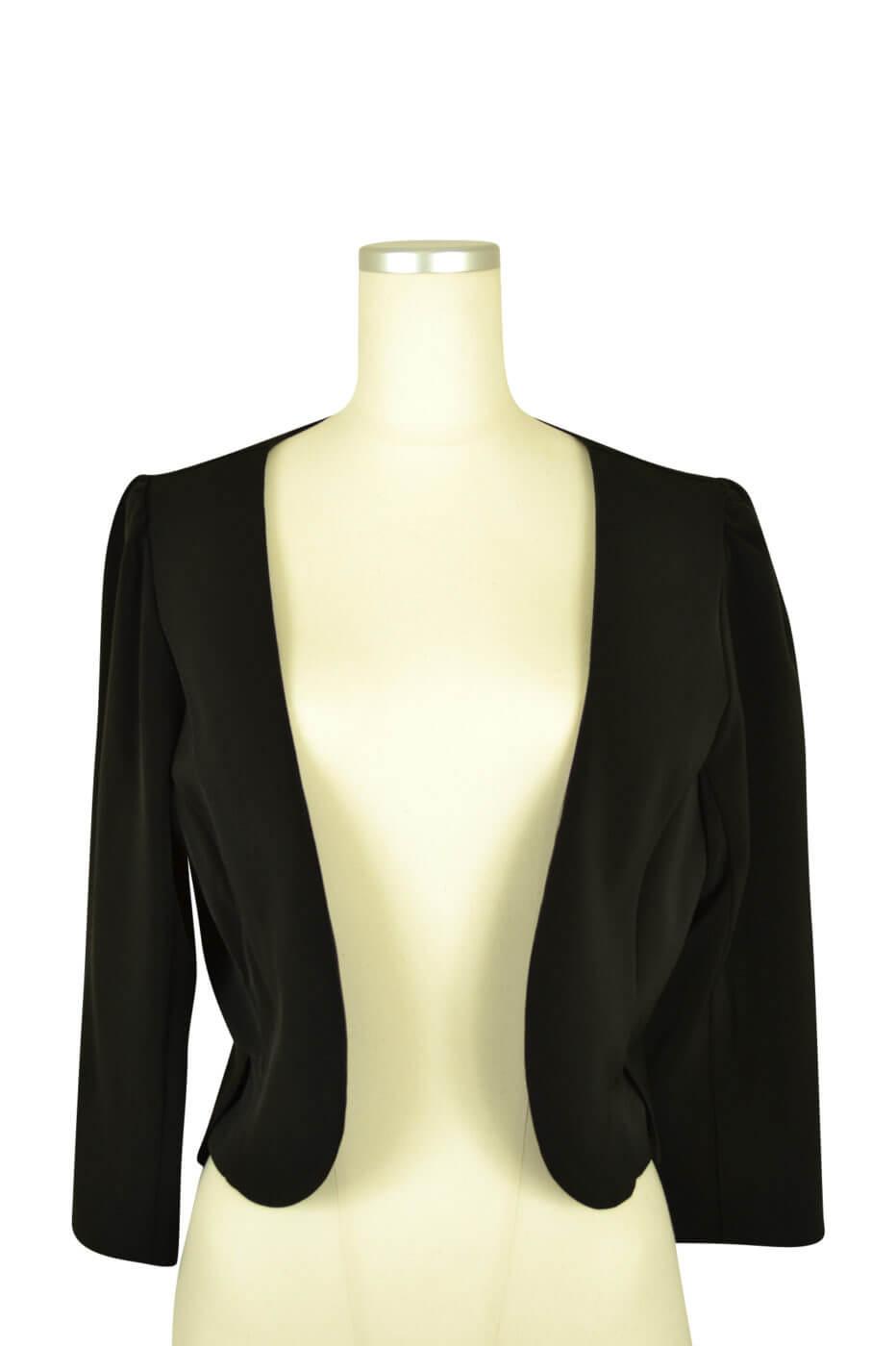 パルムドール (PALME D'OR)シンプル7分袖ブラックジャケット