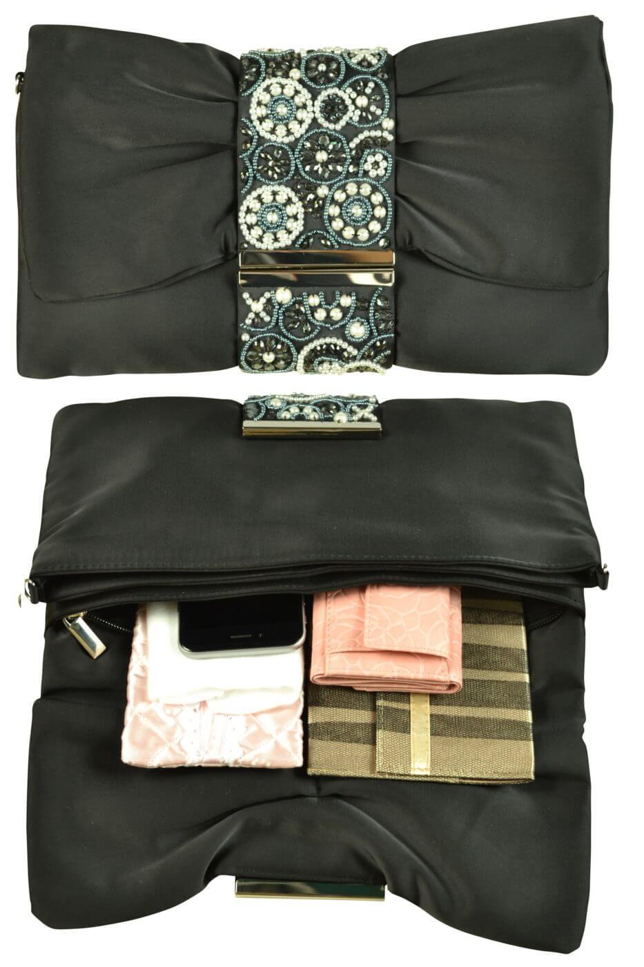 エルモソ リュクス (Hermoso luxe)デザインビジュブラッククラッチバッグ