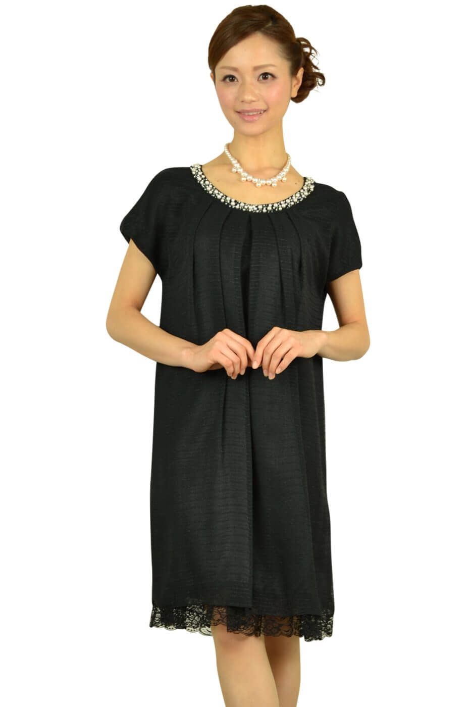 クリアインプレッション (Clear Impression)ブラックゆったりミニ袖ドレス