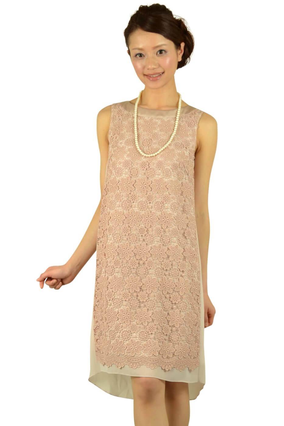 アンタイトル (UNTITLED)刺繍シフォンベージュドレス