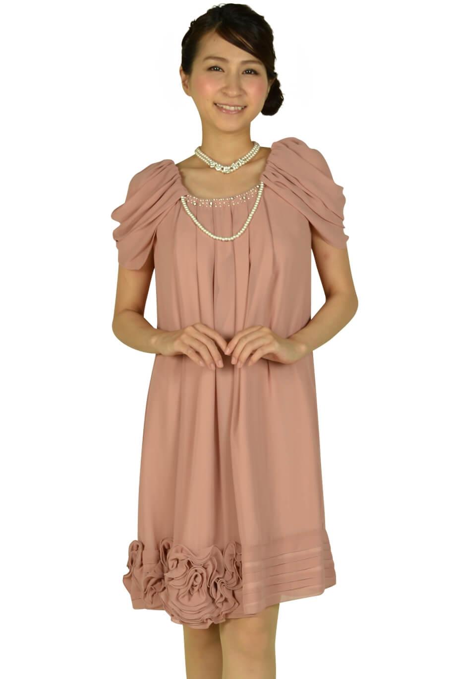 レッセパッセ (LAISSE PASSE)ふんわり袖ピンクドレス