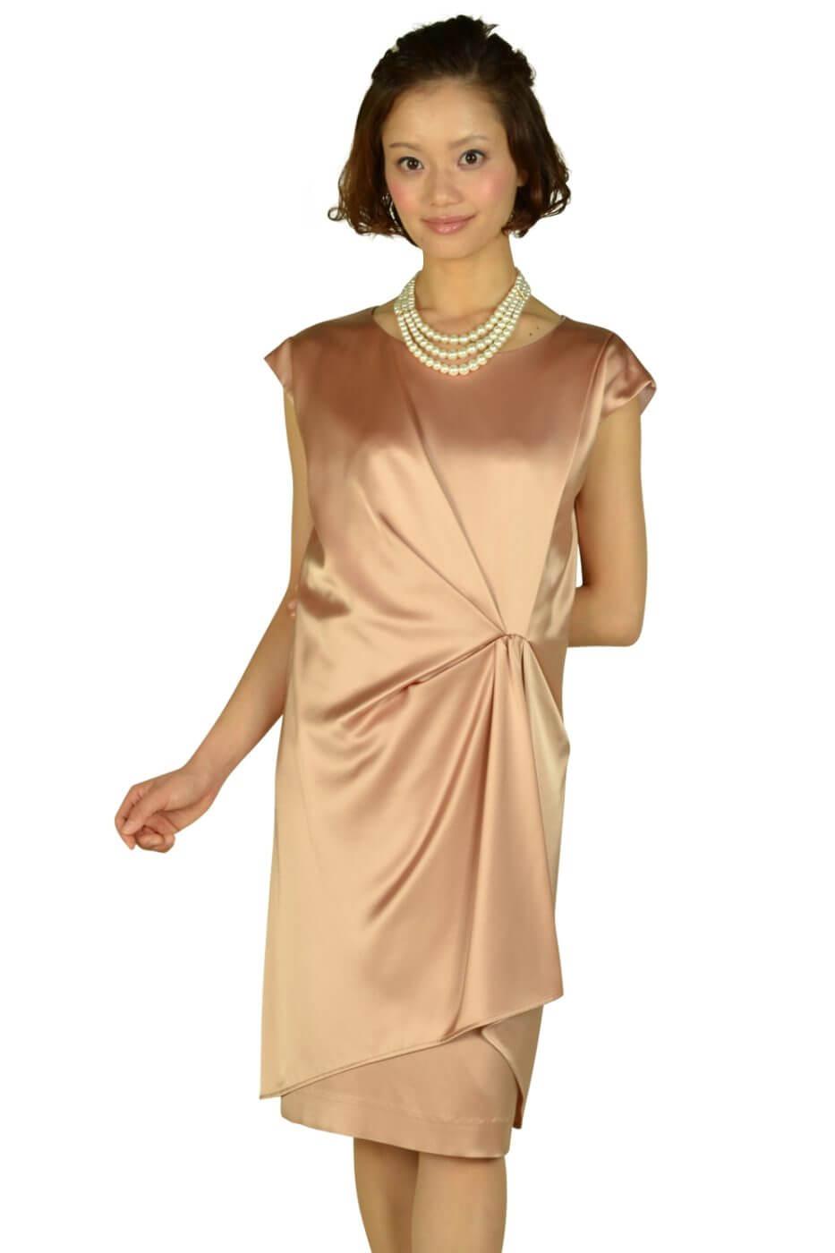アンタイトル (UNTITLED)光沢ベージュオレンジミニ袖ドレス