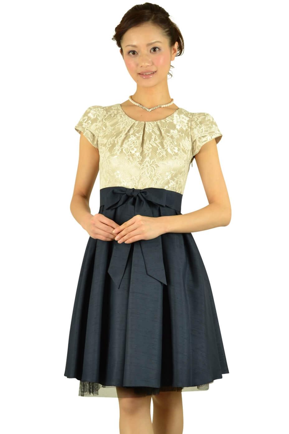 インタープラネット (INTERPLANET)異素材MIXネイビースカートドレス