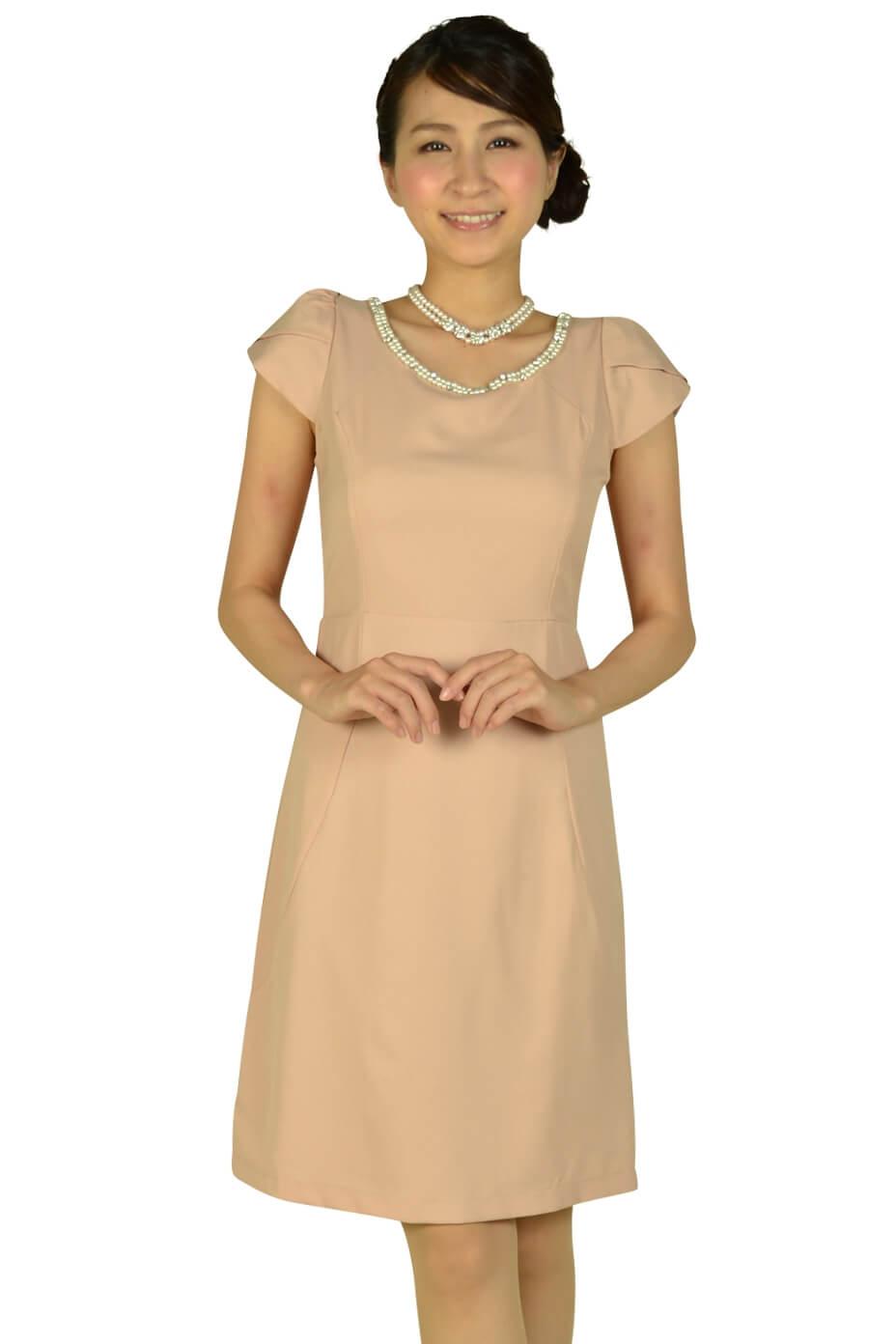 ミモザ (mimosa)ミニ袖付きビジュピンクドレス