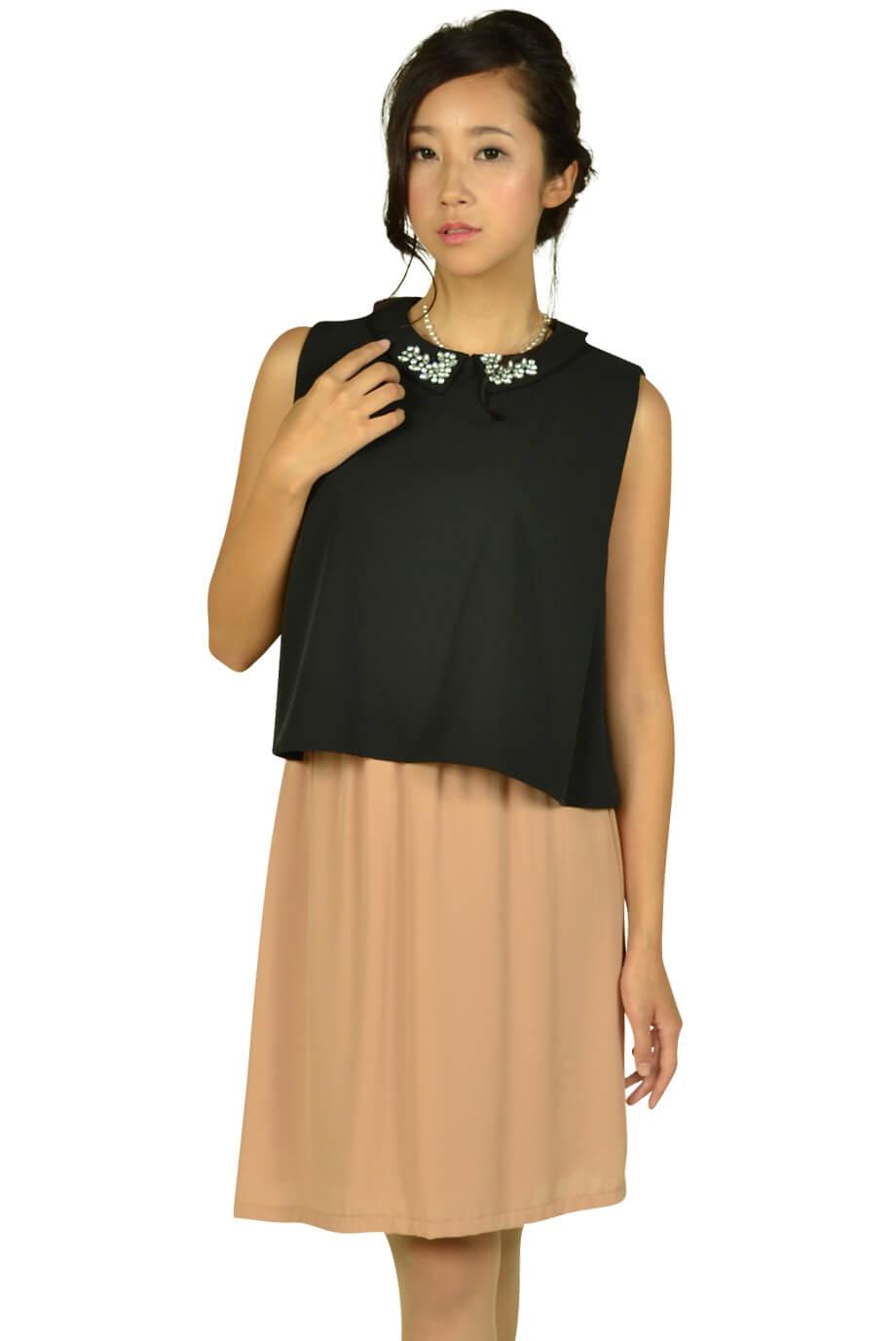 リトルブラックドレス (LITTLE BLACK DRESS)襟付きブラックバイカラードレス