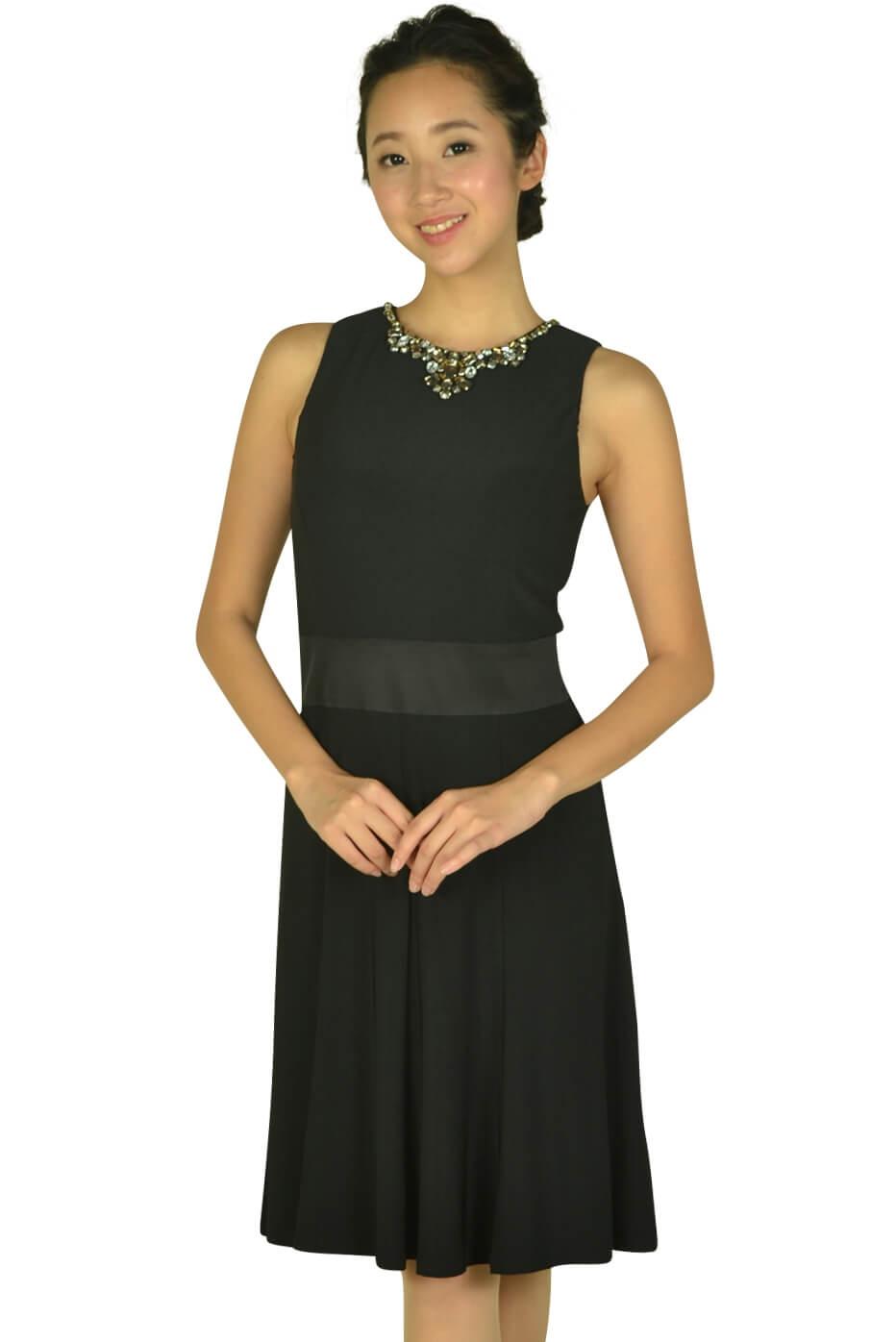 ローレンラルフローレン (LAUREN RALPH LAUREN)ビジュークリスタルネックブラックドレス