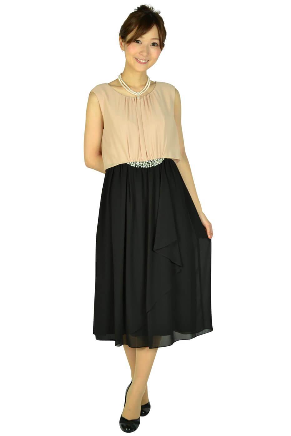 ミベル ミューズ (mebelle muse)ウェストパールバイカラードレス