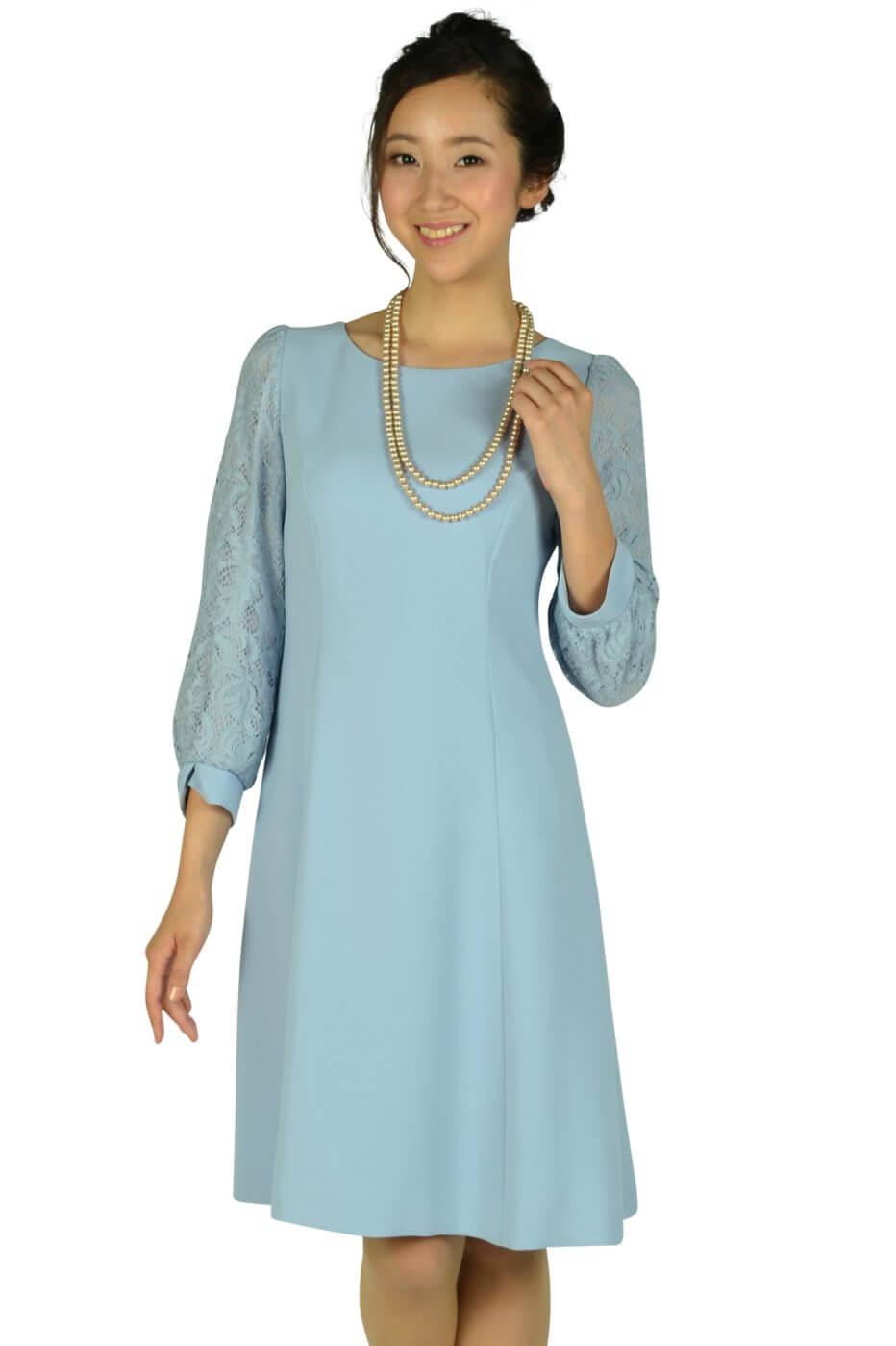 ストロベリーフィールズ (STRAWBERRY-FIELDS)サックスブルーレース袖ドレス