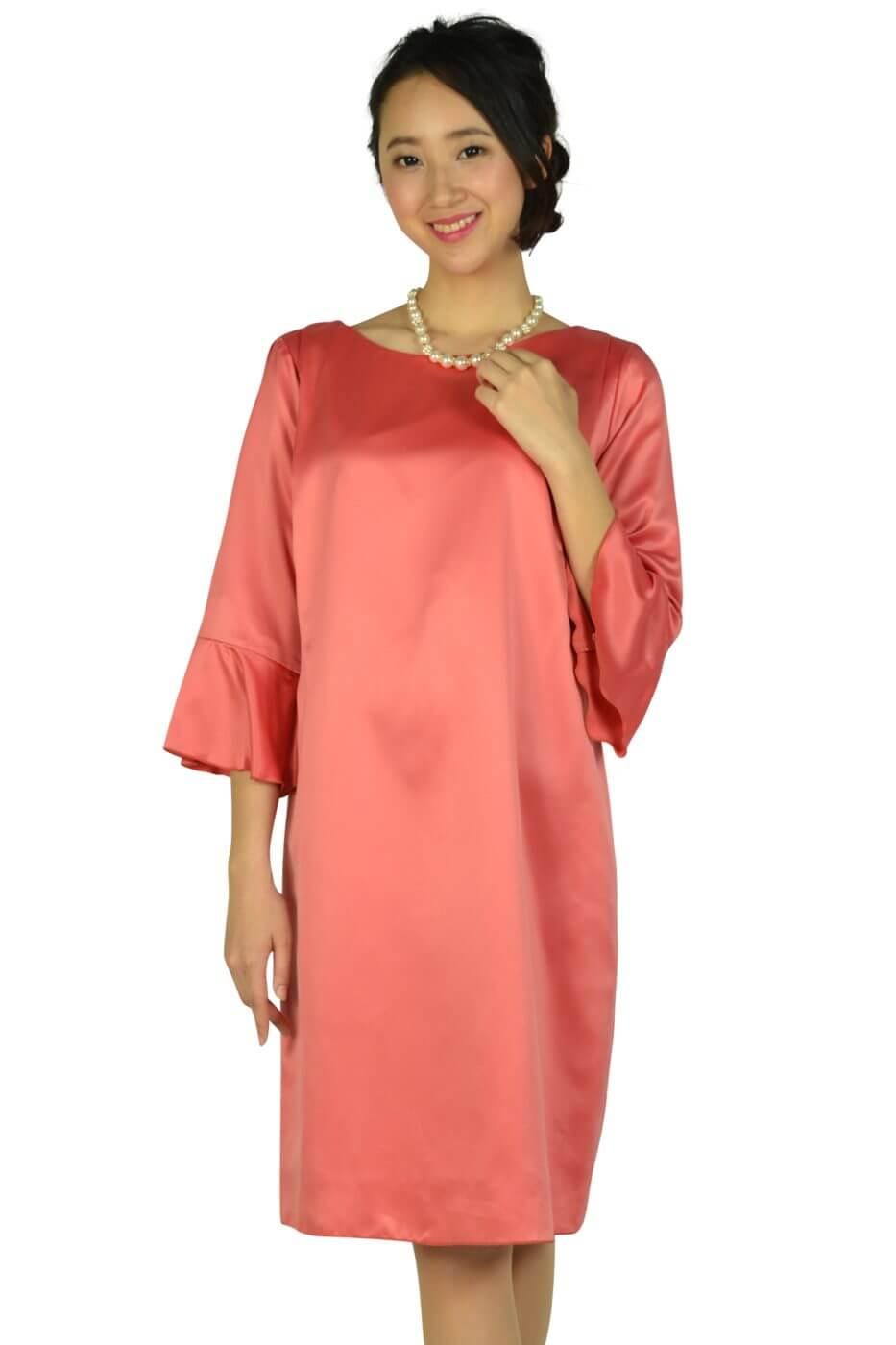 アンタイトル (UNTITLED)フレアスリーブ光沢サーモンピンクドレス