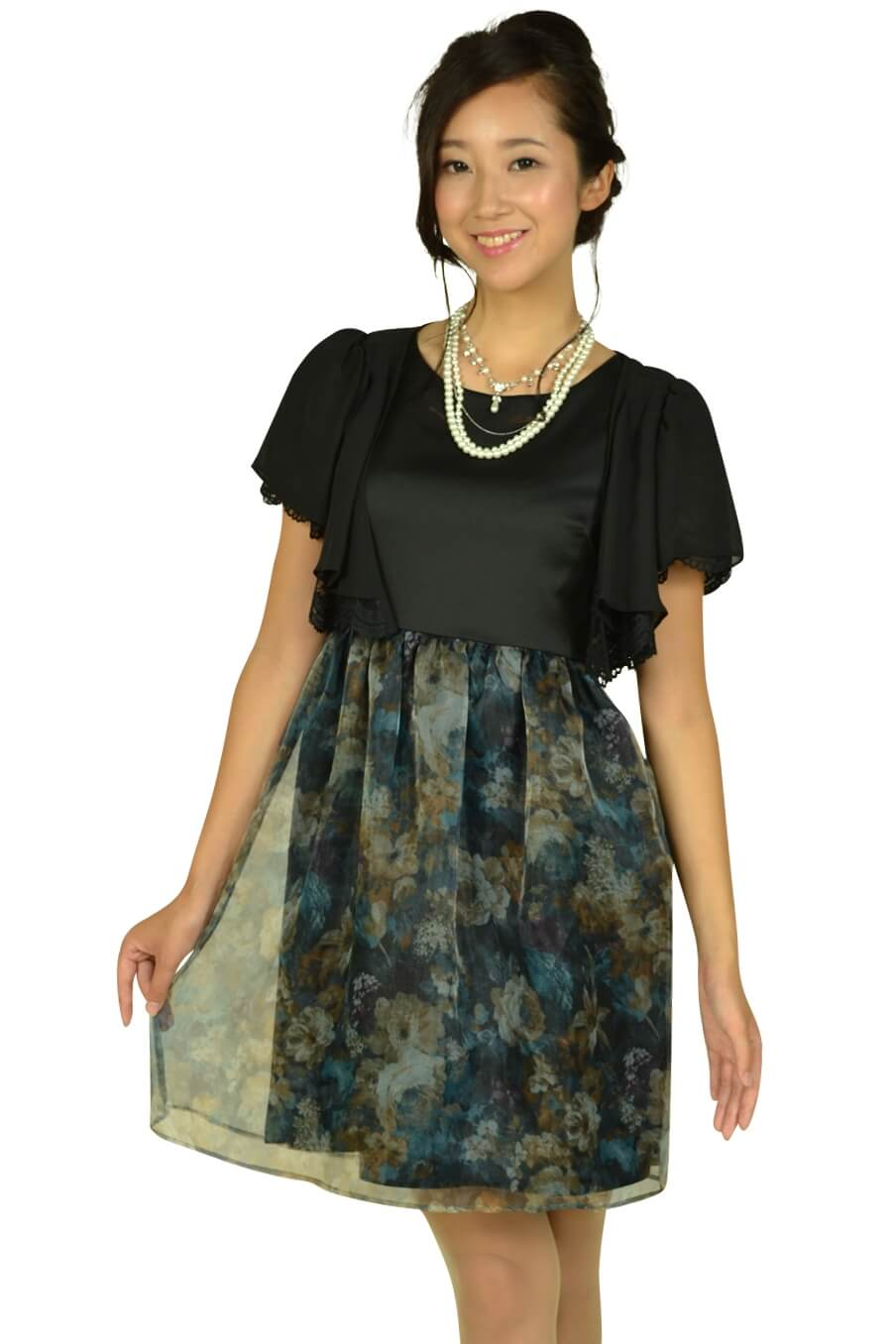 クチュールブローチ (Couture Brooch)フラワープリントブラックドレスセット