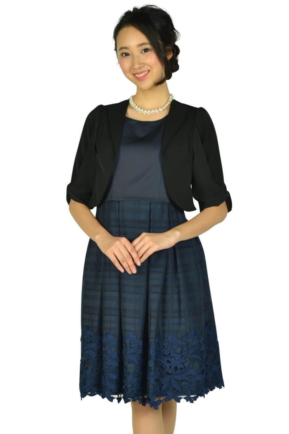ビヲミナ (VIWOMINA)チェックフラワーネイビードレスセット