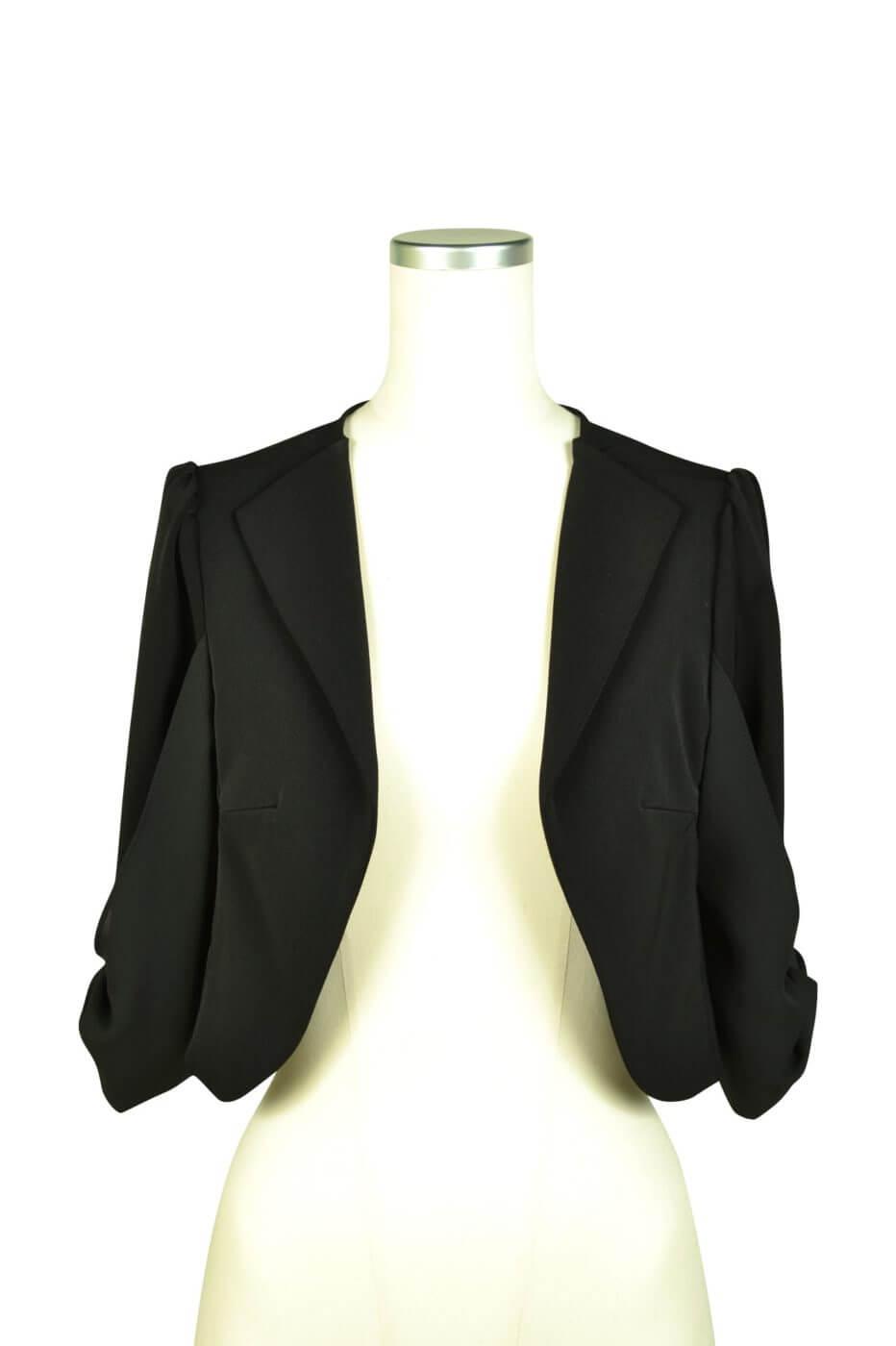ミベル ミューズ(mebelle muse) 袖リボン5分袖ブラックジャケット