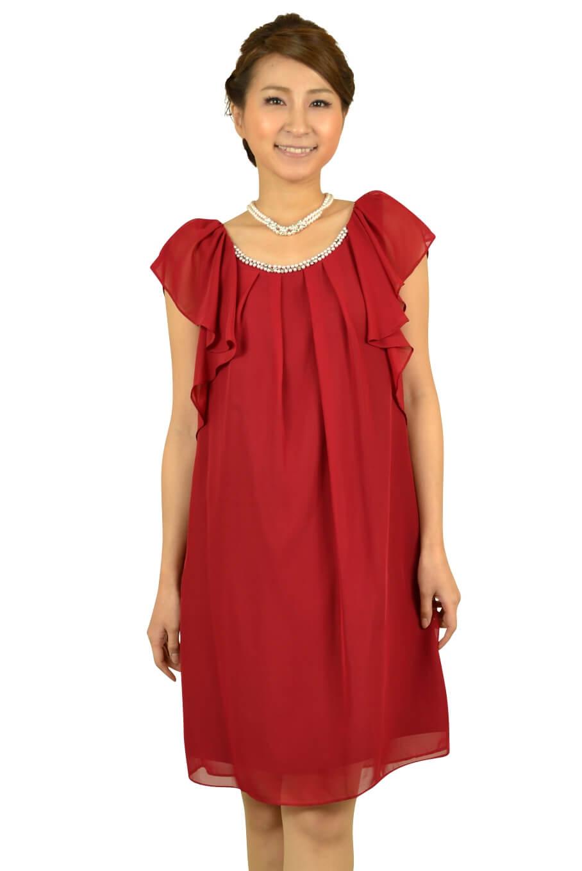 ジャスグリッティー (JUSGLITTY)ボルドーミニ袖ドレス