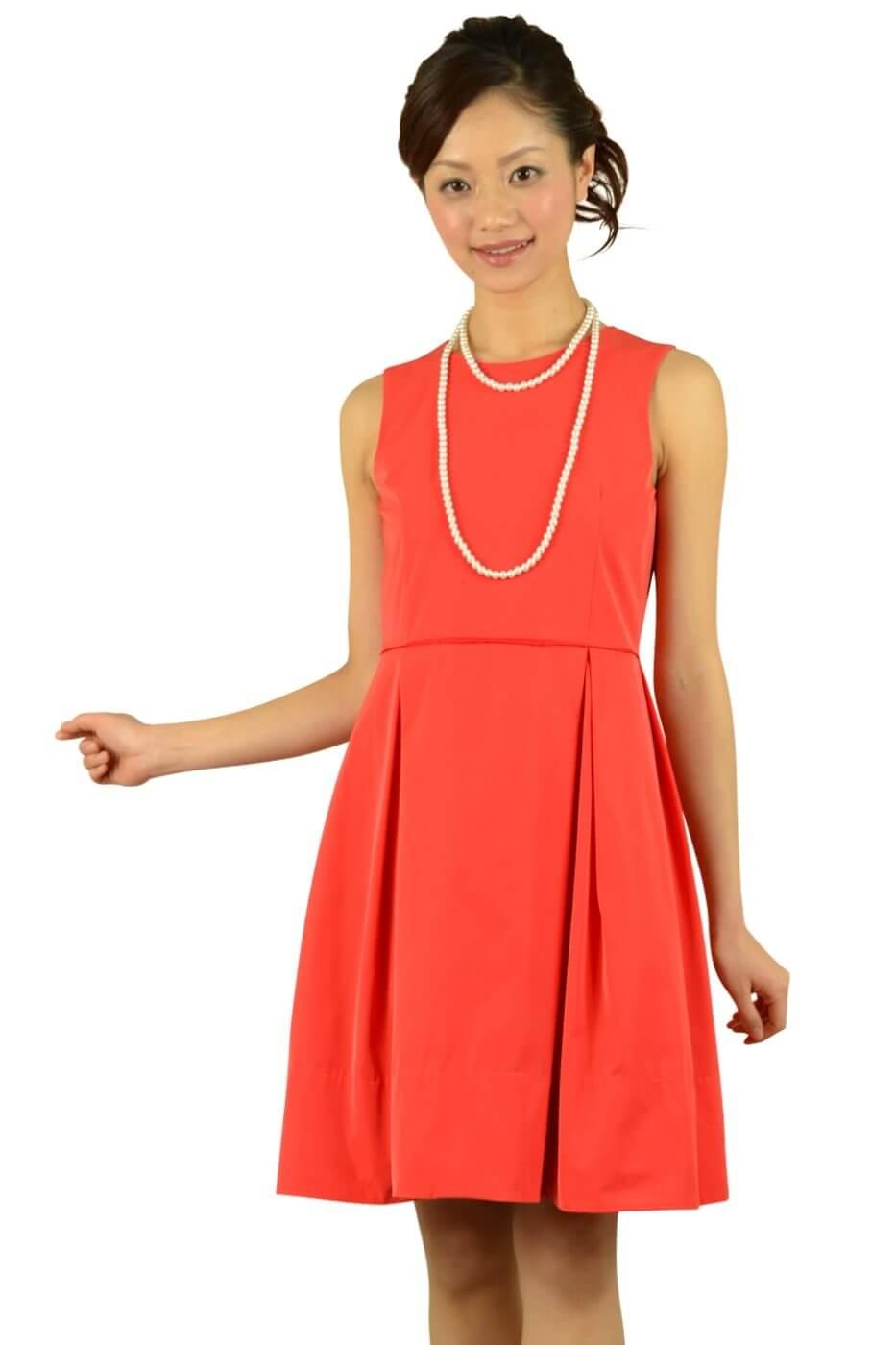 ノーリーズ (NOLLEY'S)レッドオレンジタックドレス