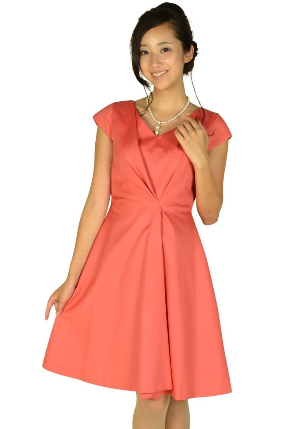 ラ トータリテ (La TOTALITE)エレガントタックオレンジピンクドレス