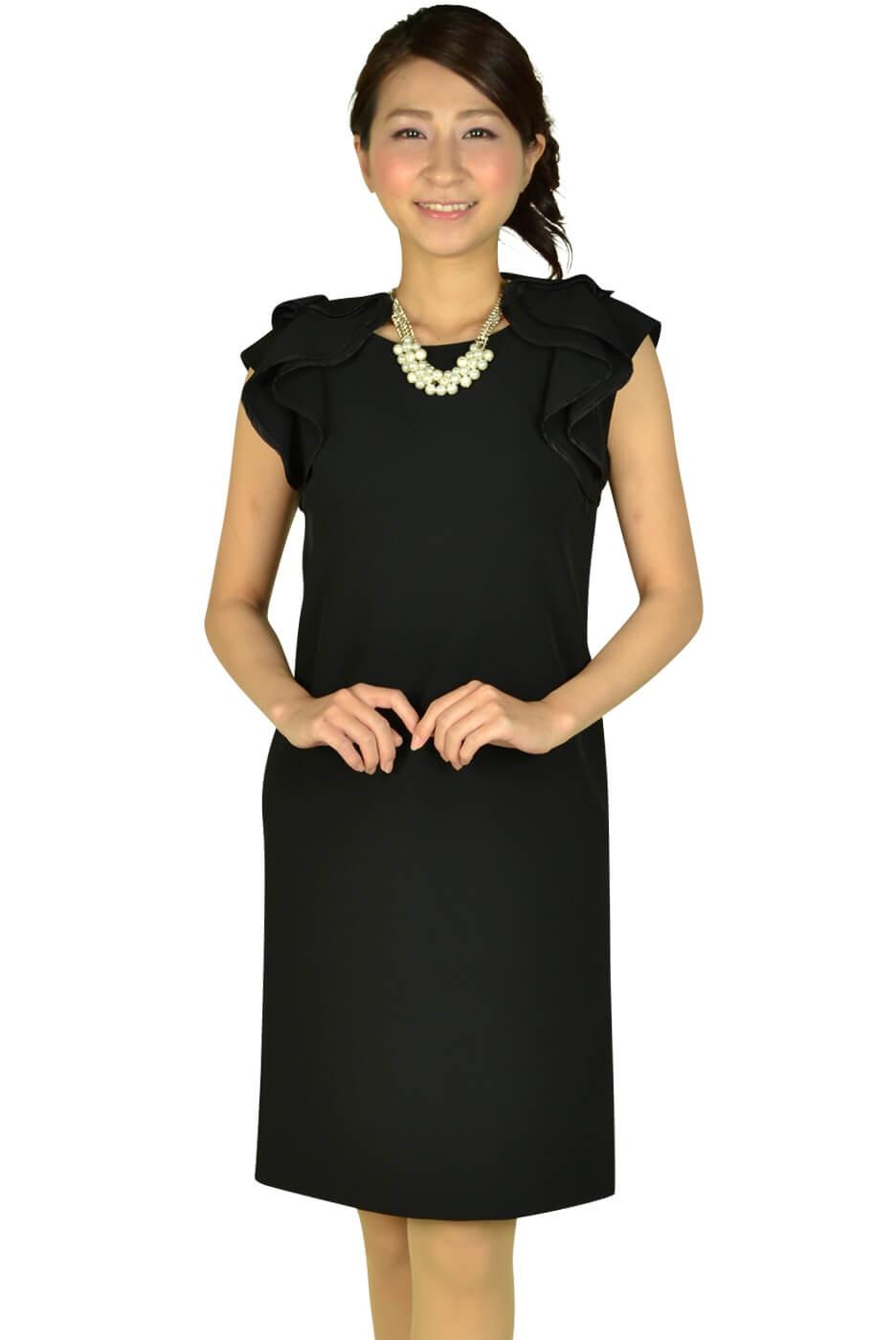 デミルクス ビームス (Demi-Luxe BEAMS)ショルダーフリルブラックドレス