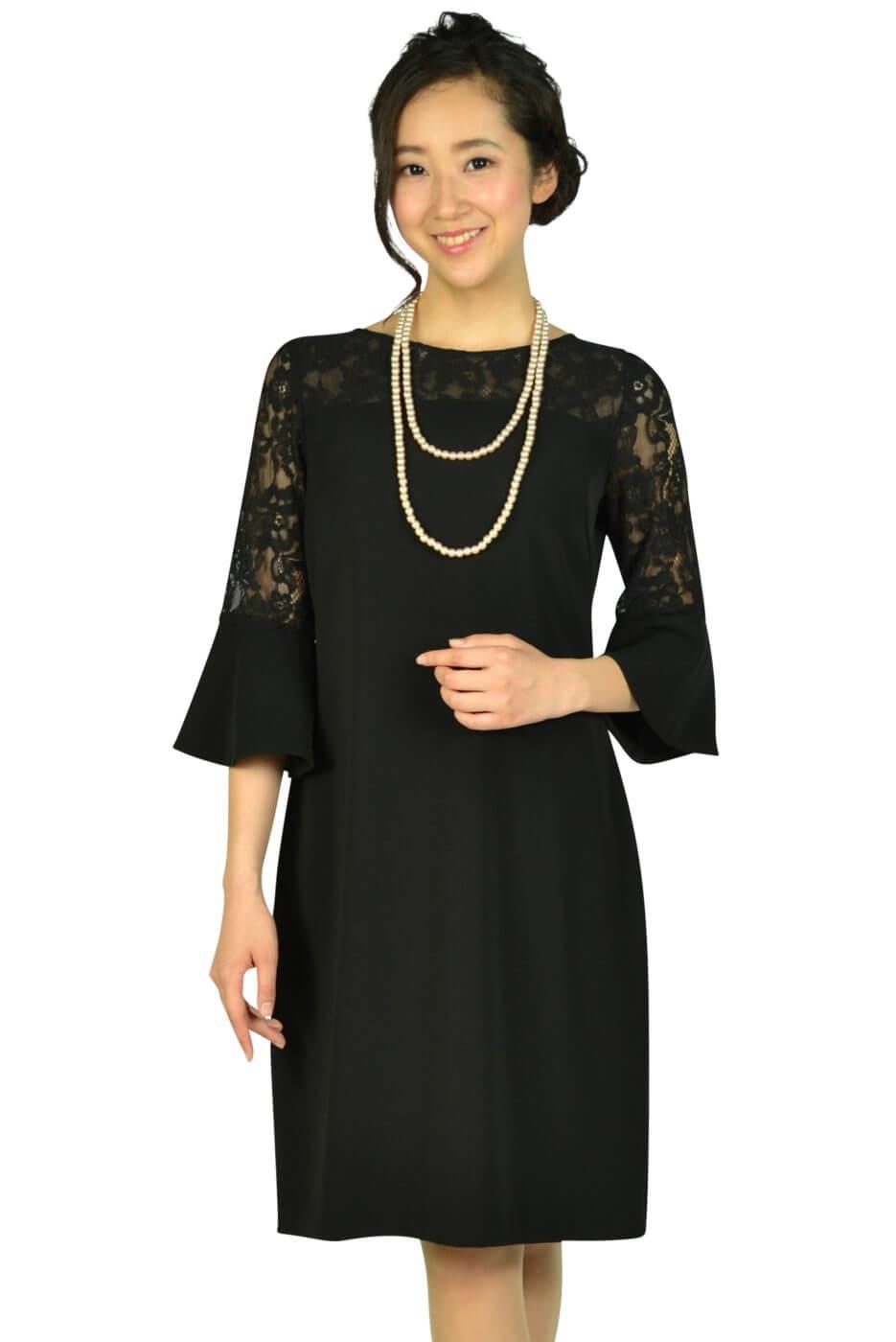 エルモソ リュクス (Hermoso luxe)異素材ベル袖ブラックドレス