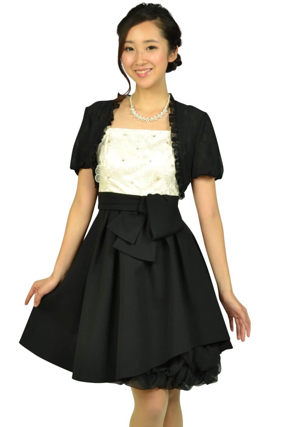 アプワイザー・リッシェ (Apuweiser-riche)フラワー刺繍オフホワイト×ブラックドレスセット